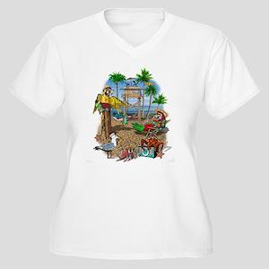 Parrot Beach Shac Women's Plus Size V-Neck T-Shirt