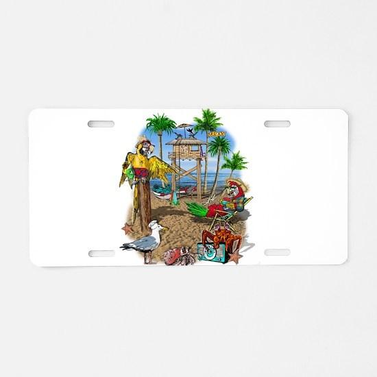 Parrot Beach Shack Aluminum License Plate