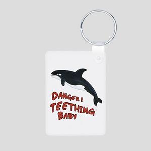 Whale - Teething Danger! Aluminum Photo Keychain
