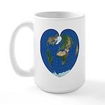 World Map Heart: coffee time Large Mug L