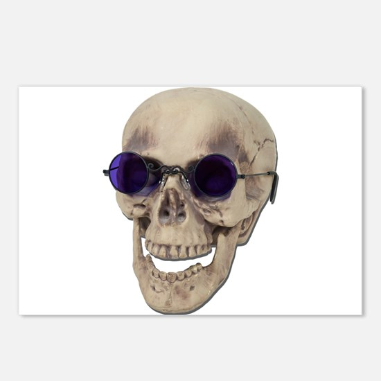 Skull Purple Glasses Postcards (Package of 8)