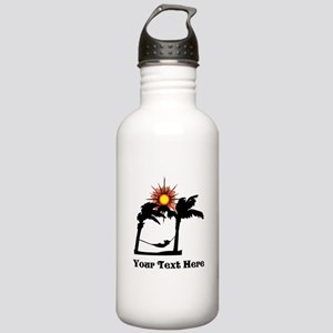 Palm Trees and Black Text. Stainless Water Bottle