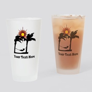 Palm Trees and Black Text. Drinking Glass