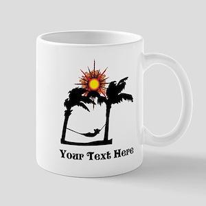 Palm Trees and Black Text. Mug