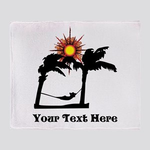 Palm Trees and Black Text. Throw Blanket