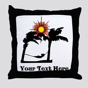 Palm Trees and Black Text. Throw Pillow