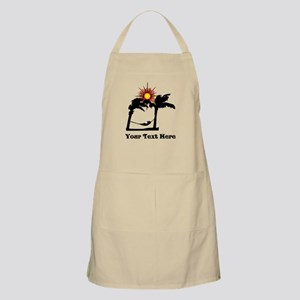 Palm Trees and Black Text. Apron