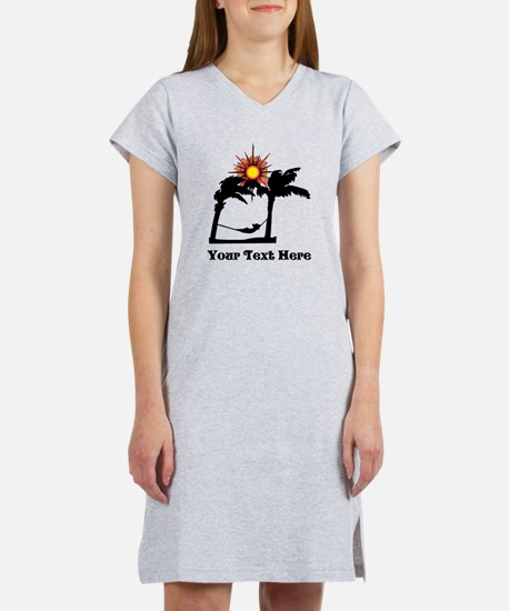 Palm Trees and Black Text. Women's Nightshirt