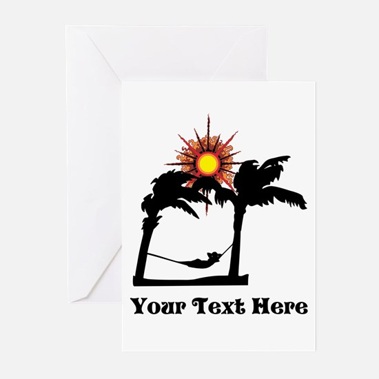 Palm Trees and Black Text. Greeting Cards (Pk of 1
