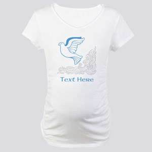 Dove of Peace with Blue Text. Maternity T-Shirt