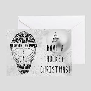 Hockey Goalie Mask Typography Xmas Greeting Cards