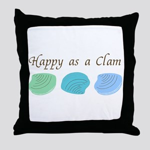 Happy as a Clam Throw Pillow