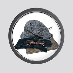 Tweed Hat Glasses Gloves Book Wall Clock