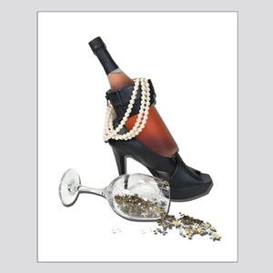 Wine Bottle Heels Pearls and Small Poster