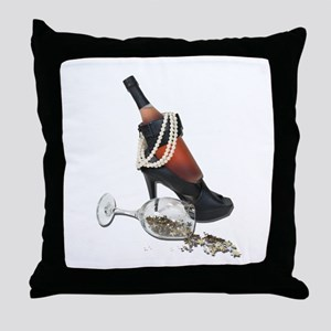 Wine Bottle Heels Pearls and Throw Pillow