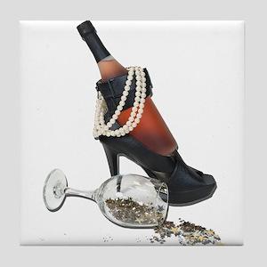 Wine Bottle Heels Pearls and Tile Coaster