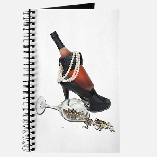 Wine Bottle Heels Pearls and Journal