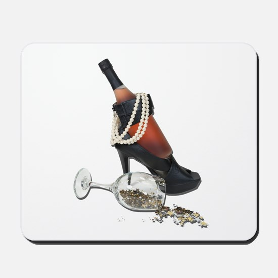 Wine Bottle Heels Pearls and Mousepad