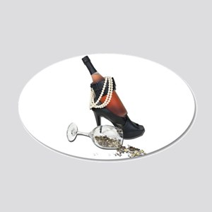 Wine Bottle Heels Pearls and 22x14 Oval Wall Peel