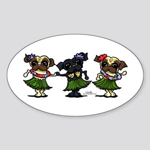 Hula Dancer Pugs Sticker (Oval)