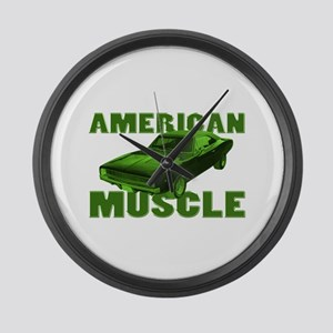 1968 Dodge Charger Lime Large Wall Clock