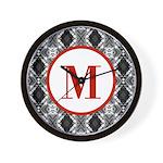 Diamond Red Monogram Wall Clock