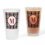 Diamond Red Monogram Drinking Glass