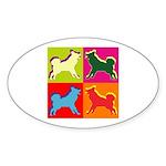 Alaskan Malamute Silhouette Pop Art Sticker (Oval)