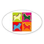 Alaskan Malamute Silhouette Pop Art Sticker (Oval