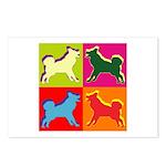 Alaskan Malamute Silhouette Pop Art Postcards (Pac