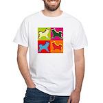 Alaskan Malamute Silhouette Pop Art White T-Shirt