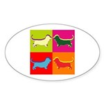 Basset Hound Silhouette Pop Art Sticker (Oval 50 p