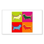 Basset Hound Silhouette Pop Art Sticker (Rectangle