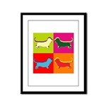 Basset Hound Silhouette Pop Art Framed Panel Print