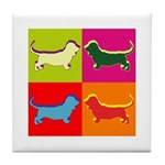 Basset Hound Silhouette Pop Art Tile Coaster