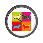 Basset Hound Silhouette Pop Art Wall Clock