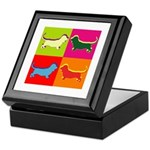 Basset Hound Silhouette Pop Art Keepsake Box