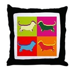 Basset Hound Silhouette Pop Art Throw Pillow