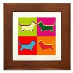 Basset Hound Silhouette Pop Art Framed Tile