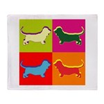 Basset Hound Silhouette Pop Art Throw Blanket
