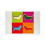 Basset Hound Silhouette Pop Art Rectangle Magnet (
