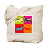 Basset Hound Silhouette Pop Art Tote Bag