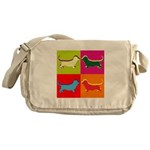 Basset Hound Silhouette Pop Art Messenger Bag
