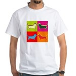 Basset Hound Silhouette Pop Art White T-Shirt