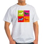 Basset Hound Silhouette Pop Art Light T-Shirt