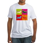 Basset Hound Silhouette Pop Art Fitted T-Shirt