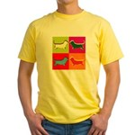 Basset Hound Silhouette Pop Art Yellow T-Shirt