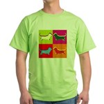 Basset Hound Silhouette Pop Art Green T-Shirt