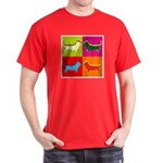 Basset Hound Silhouette Pop Art Dark T-Shirt