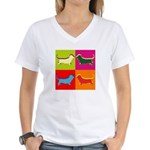 Basset Hound Silhouette Pop Art Women's V-Neck T-S